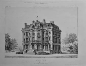 Hotel Prive. Boulevard Exelmans, a Auteuil __ Elevation en Perspective.  1873.