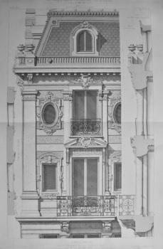 Hotel Prive. Boulevard Exelmans, a Auteuil __ Details de la Facade. 1873.