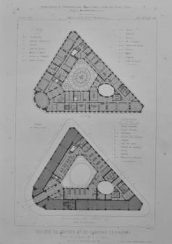 Societe de Depots et de Comptes Courants, Place de L'Opera, No. 2, a Paris.  (Plans) 1873.