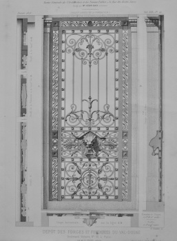 Depot Des Forges et Fonderies Du Val-D'Osne. Boulevard Voltairem No. 58, a Paris .(Ornate Ironwork Gate).  1873.