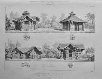 Constructions Rustiques. Loges d'Animaux au Jardin d'Acclimatation.  1873.