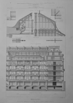 Magasins, de la Belle Jardiniere, rue du Pont-Neuf, a Paris__Coupe et Details.  1873.