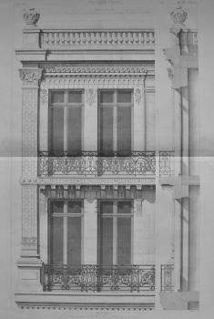 Hotel. Rue Francois 1er, No. 30, a Paris.___Details de la Facade.  1873.