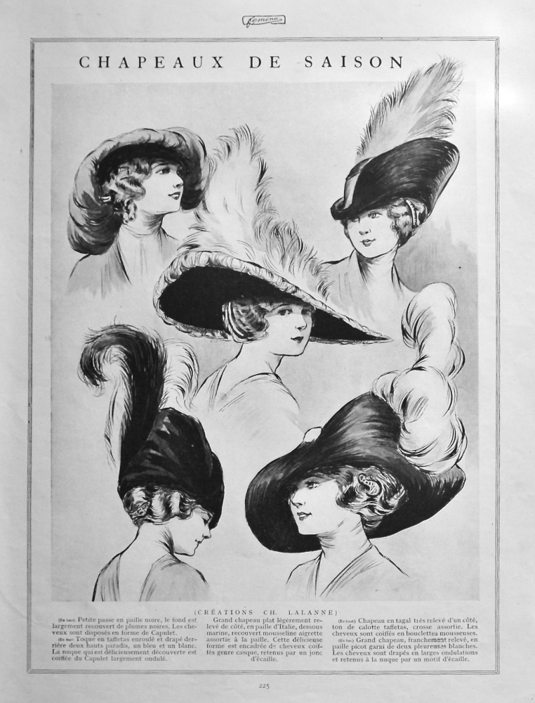 Chapeaux De Saison.  (Seasonal Hats) 1912.