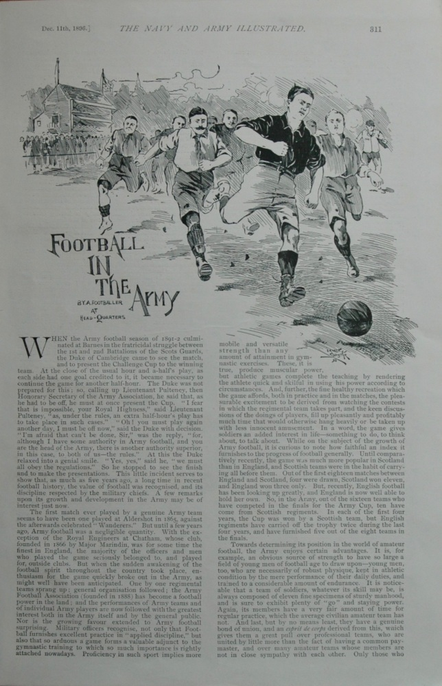 Football in the Army. 1896.