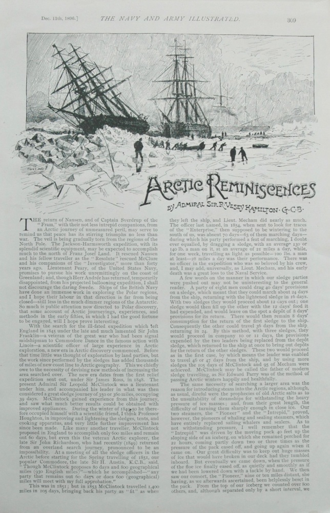 """Artic Reminiscences.""  Written by Admiral Sir R. Vesey Hamilton, G.C.B."
