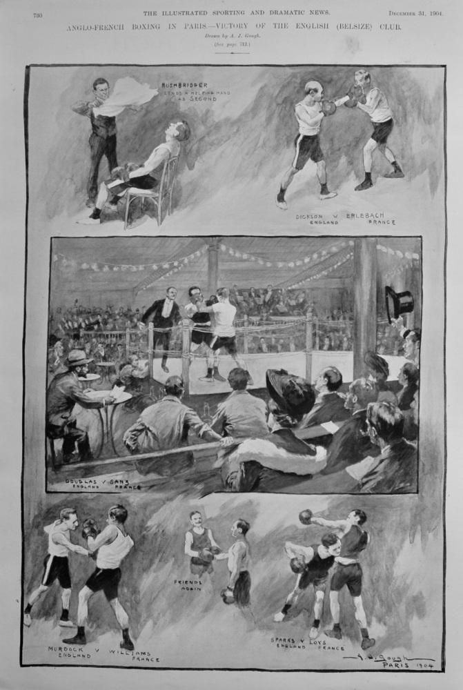 Anglo-French Boxing in Paris.- Victory of the English (Belsize) Club. 1904.