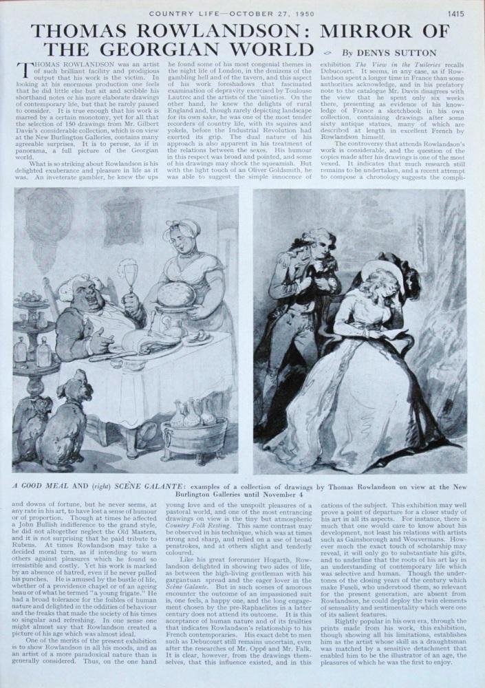 Thomas Rowlandson : Mirror of the Georgian World. Written by Denys Sutton.