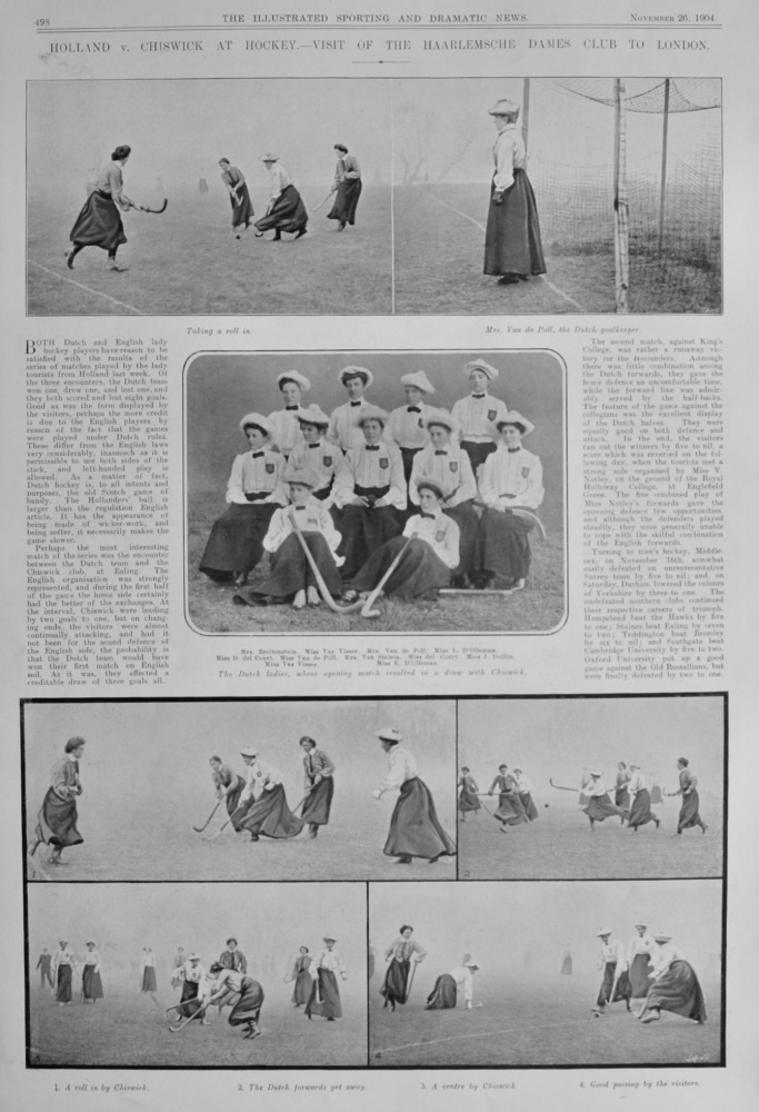 Holland v. Chiswick at Hockey.- Visit of the Haarlemsche Dames Club to London.  1904.
