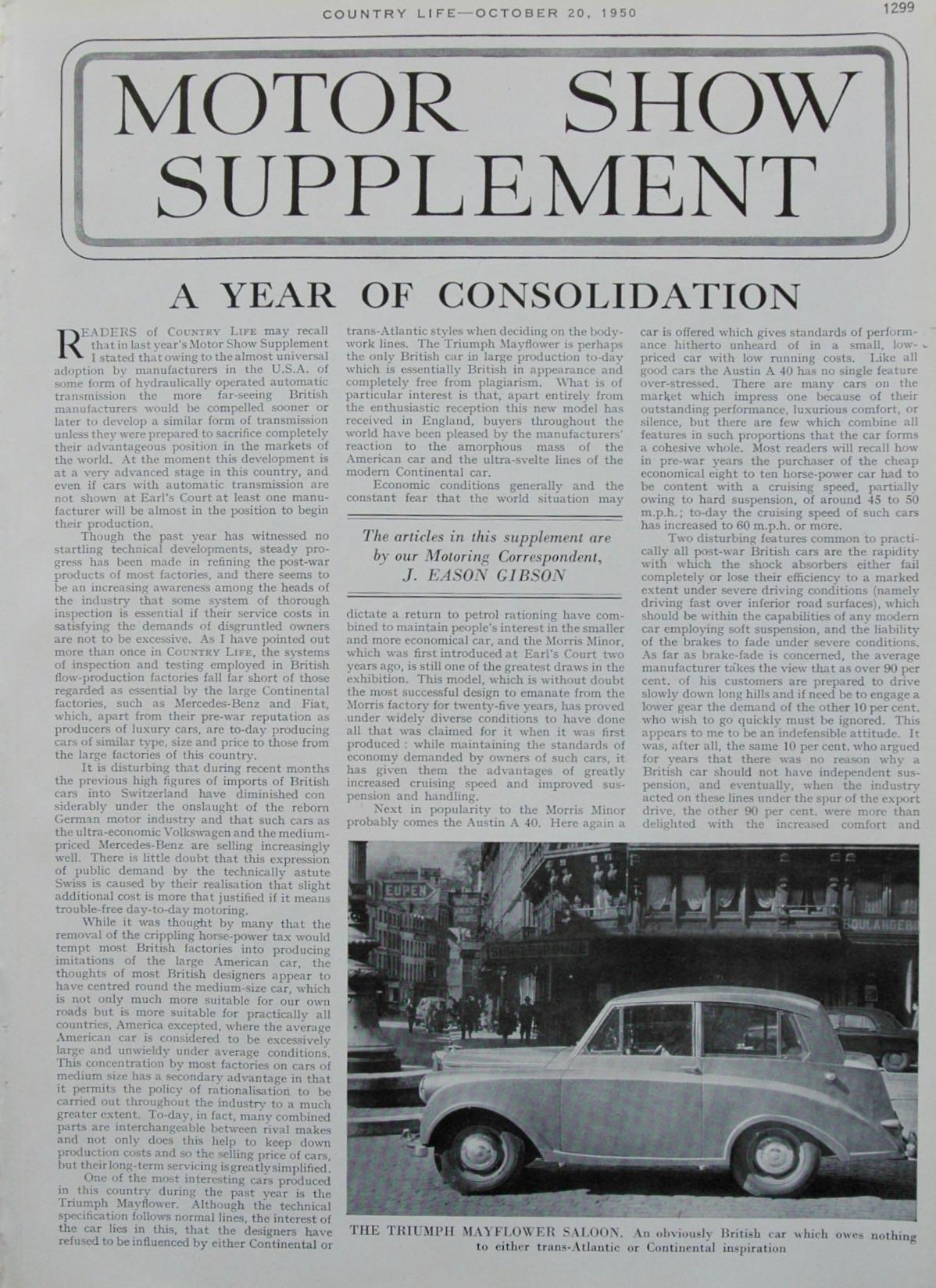Motor Show Supplement - 1950