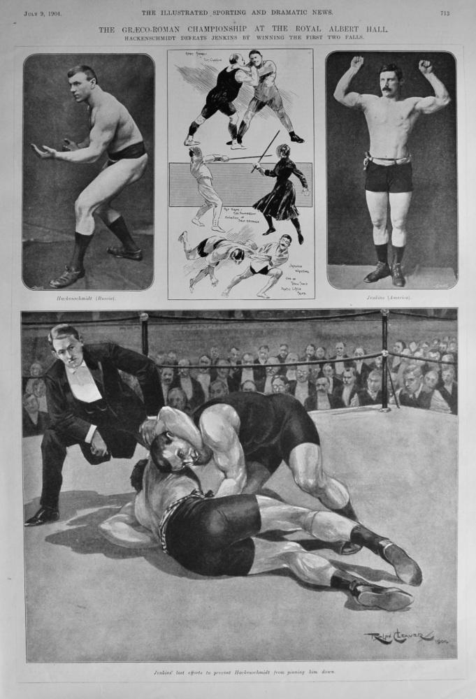 The Graeco-Roman Championship at the Royal Albert Hall.  1904.
