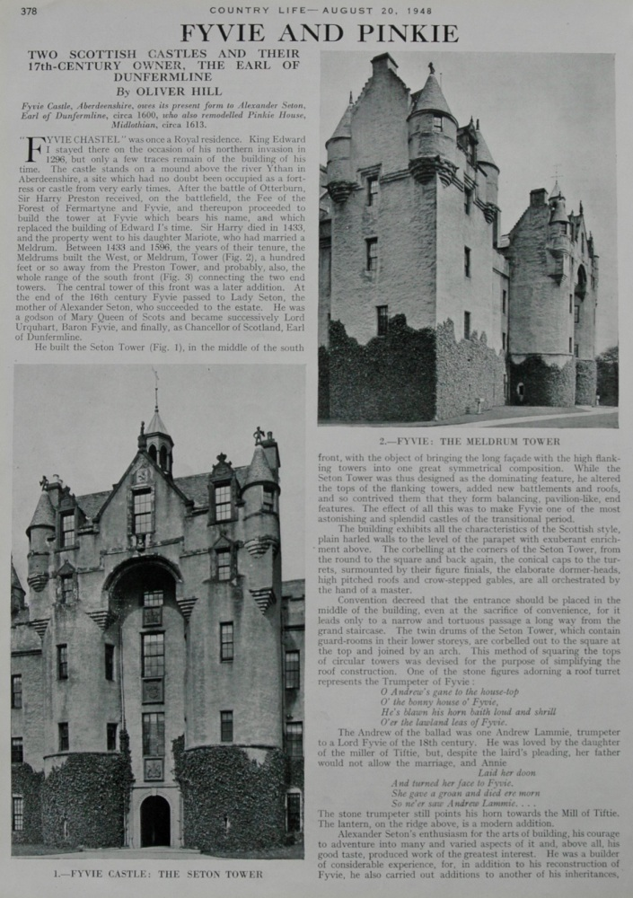 Fyvie and Pinkie.-  Two Scottish Castles.  1948.