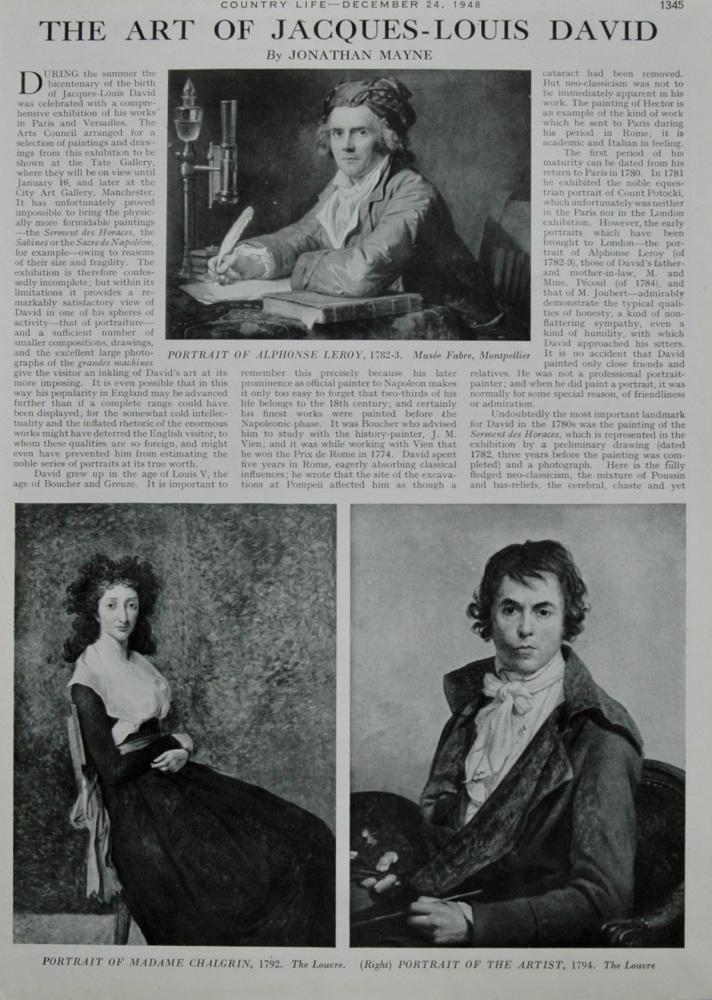 The Art of Jacques-Louis David.   By Jonathan Mayne.  1948.