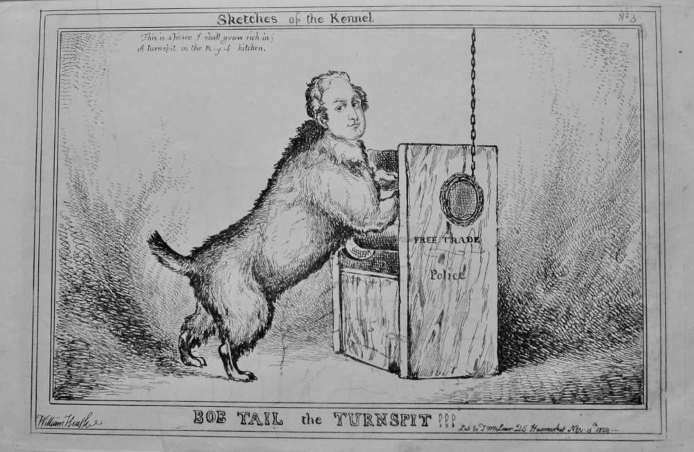 Sketches of the Kennel : Bob Tail the Turnspit !!!.  1838c.