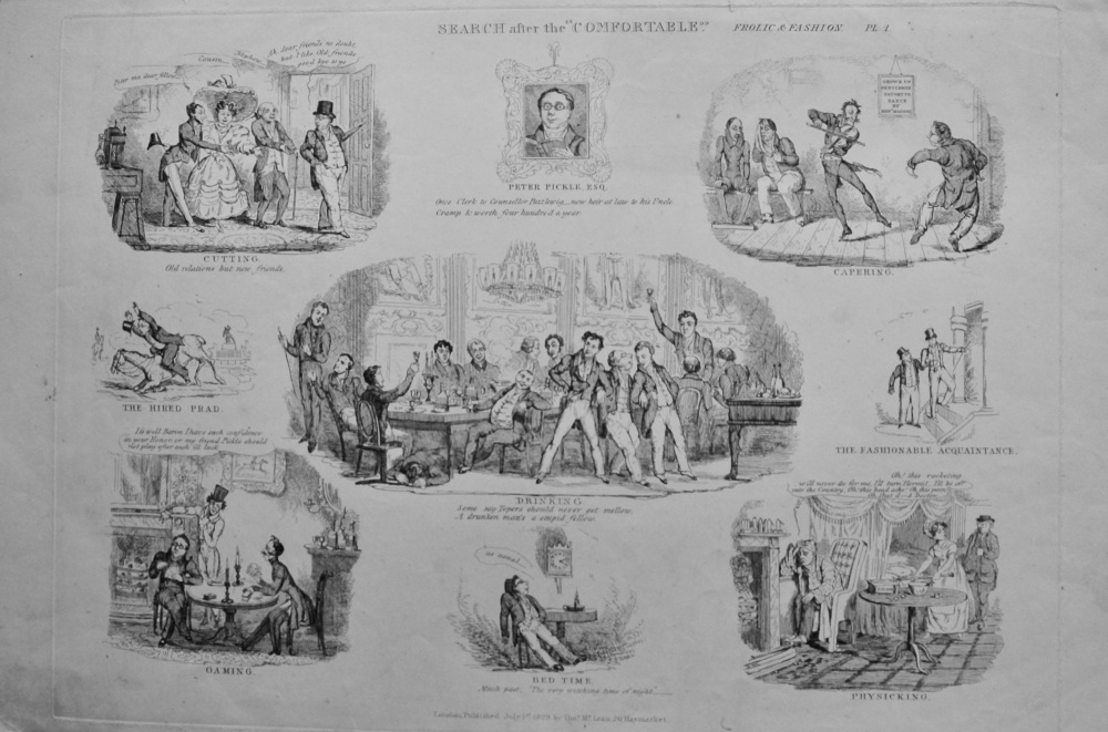 """Search after the """"Comfortable.""""  By Robert Seymour. (6 Plates)  1838c."""