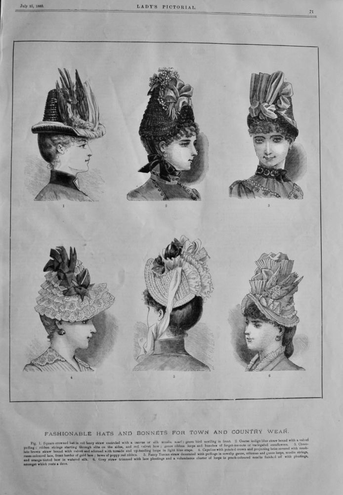 Fashionable Hats and Bonnets for Town and Country Wear.  1885.