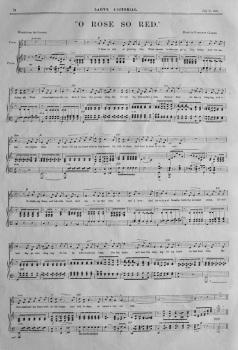 """""""O Rose So Red.""""  (Sheet Music).  1885."""
