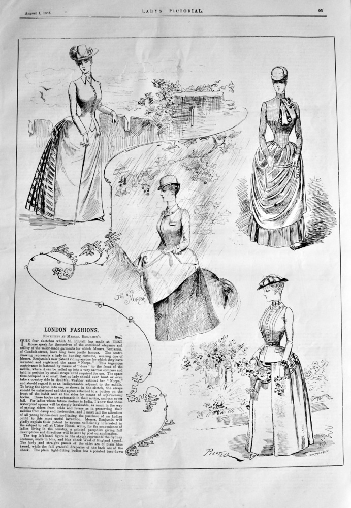 London Fashions. (Drawings by Pilotell). 1885.