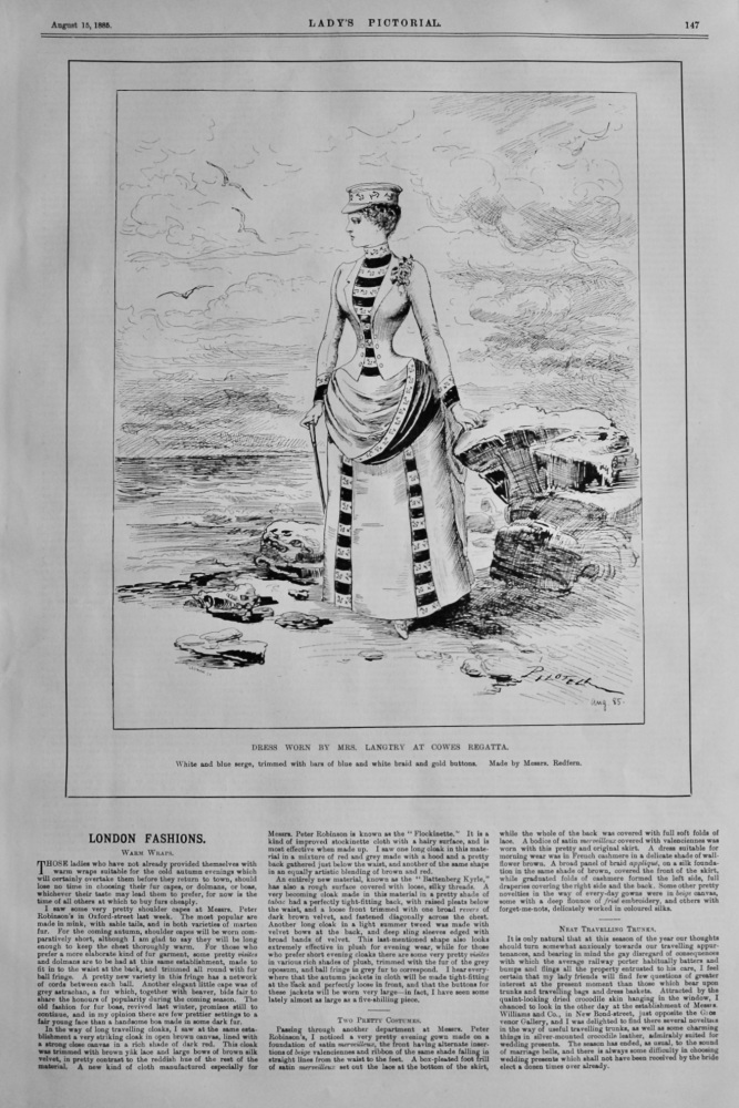 Dress Worn by Mrs. Langtry at Cowes Regatta. 1885.