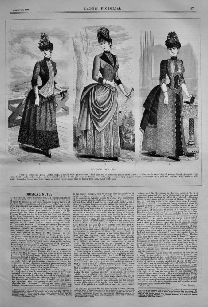 Outdoor Costumes.  1885.