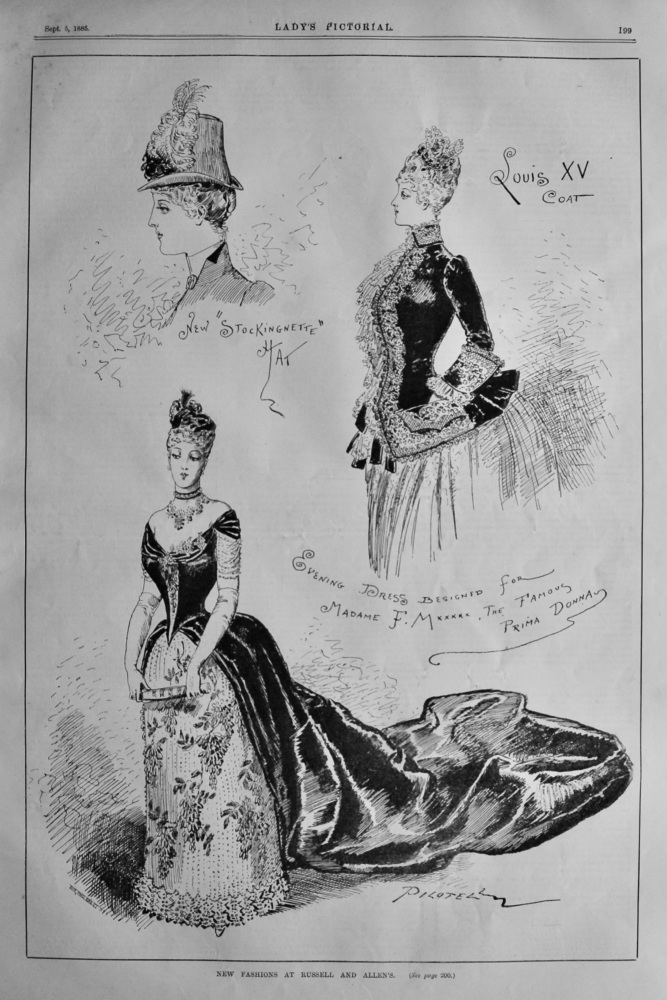 New Fashions at Russell and Allen's.  1885.
