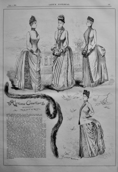 Autumn Costumes designed by Redfern.  1885.