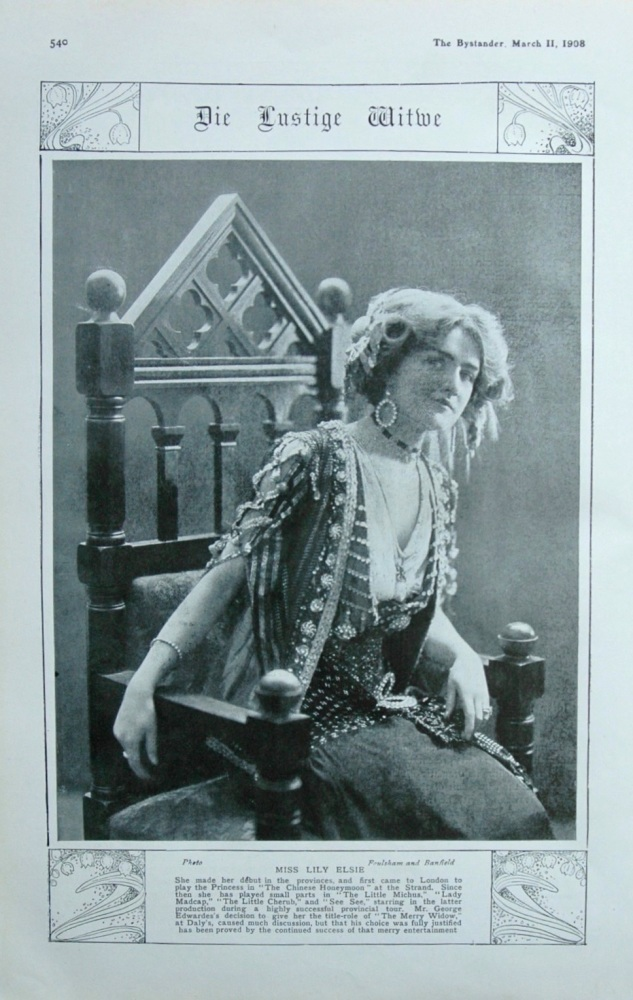 Die Lustige Witwe (The Merry Widow) at Dalys. 1908.