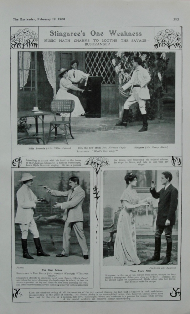 Stingaree's One Weakness.  ( Melodrama at the Queen's Theatre.) 1908.