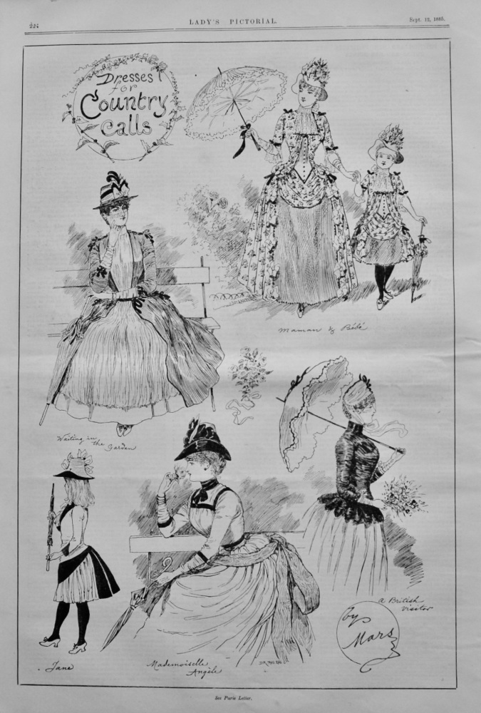 Dresses for Country Calls.  Sketched by Mars.  1885.