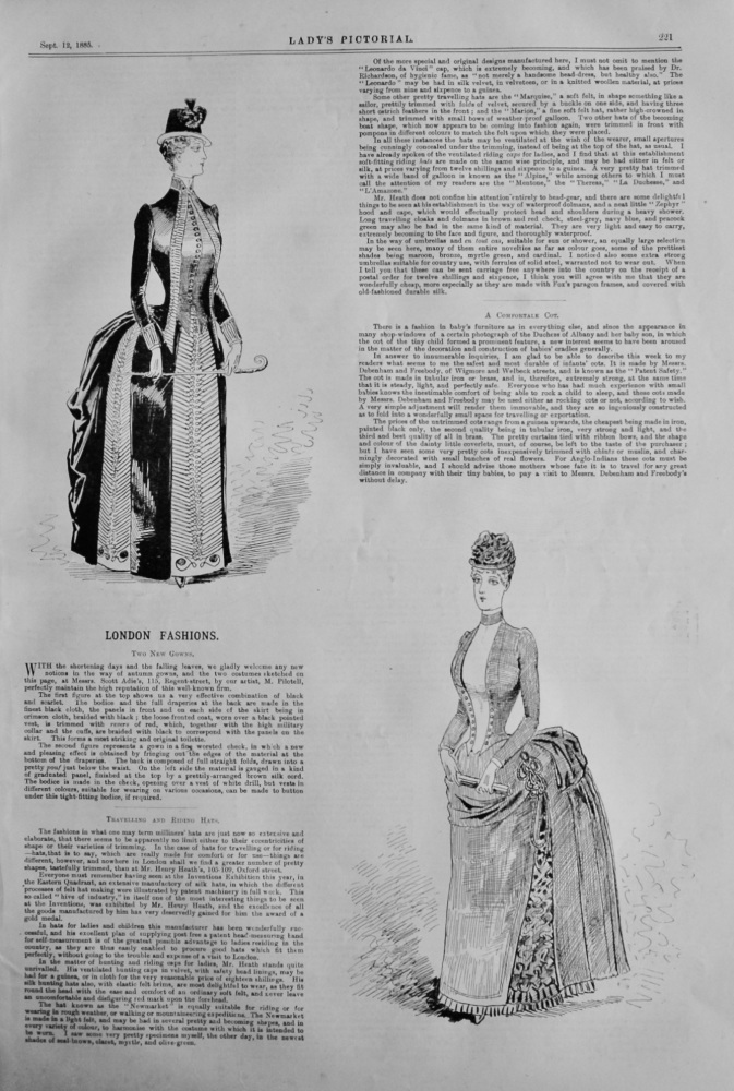London Fashions.  (Sketches by Pilotell)   1885.