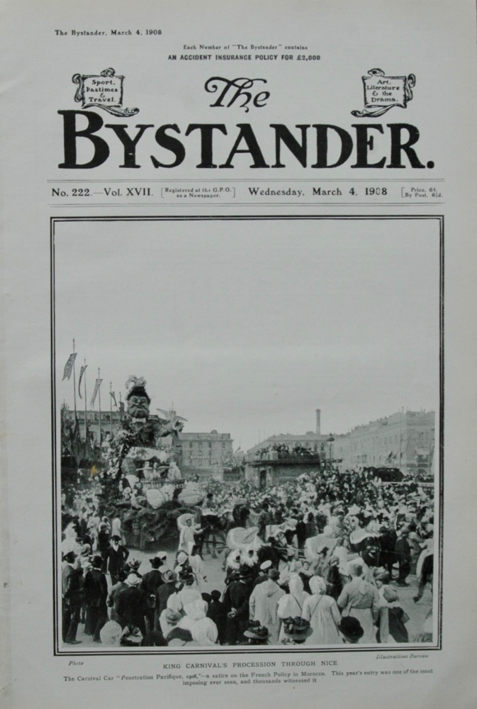 King's Carnival Procession through Nice.  1908.