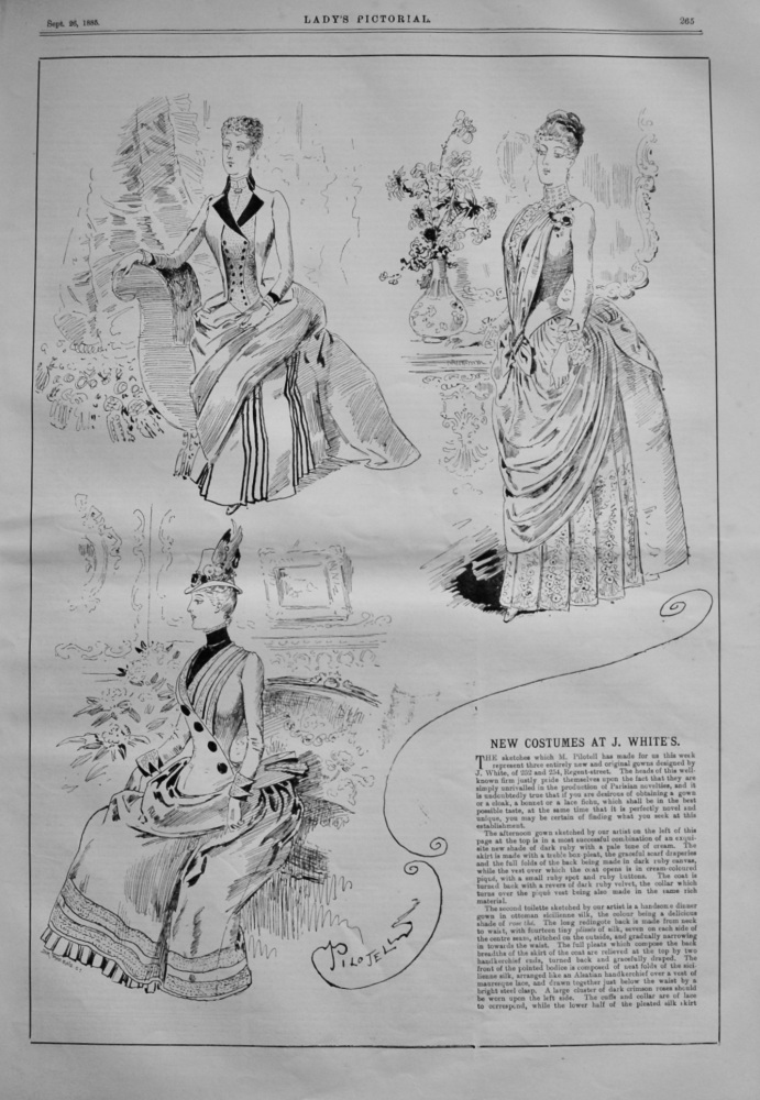 New Costumes at J. White's,  252 and 254, Regent-street.  1885.