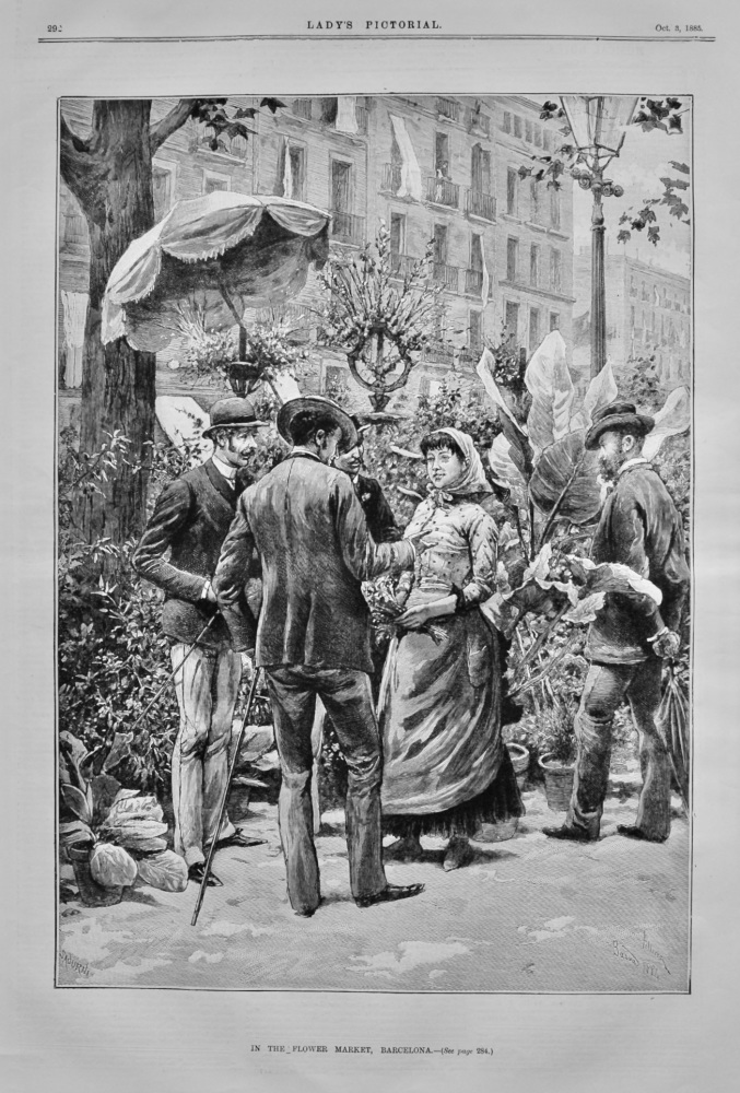 In the Flower Market, Barcelona. 1885.
