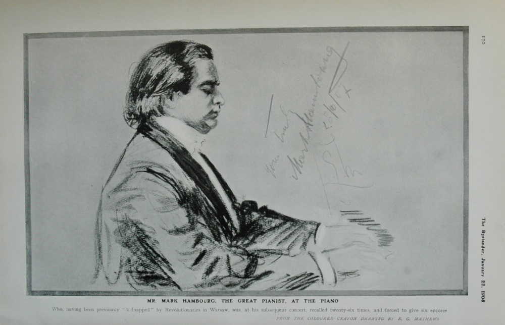 Mr Mark Hambourg, the Great Pianist, at the Piano. 1908.