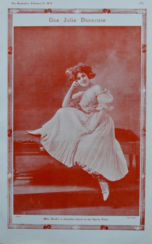 Mlle. Ricotti, a charming Dancer at the Opera, Paris. 1908.