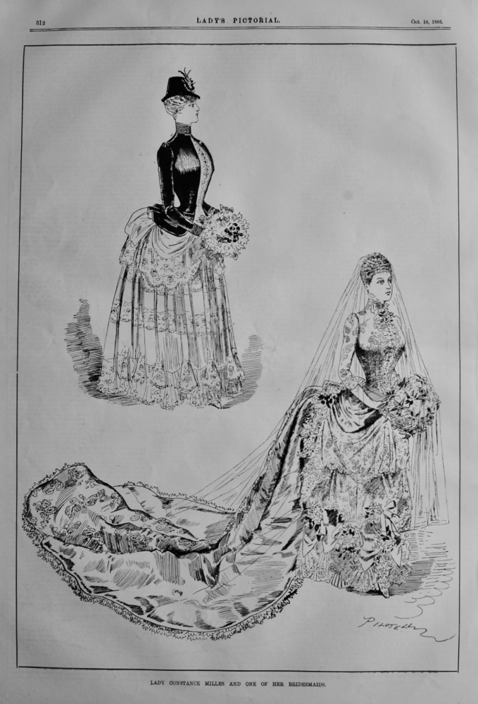 Lady Constance Miles and one of her Bridesmaids.  1885.