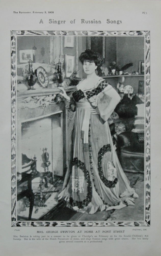 A Singer of Russian Songs : Mrs George Swinton at Home at Pont Street.  1908.