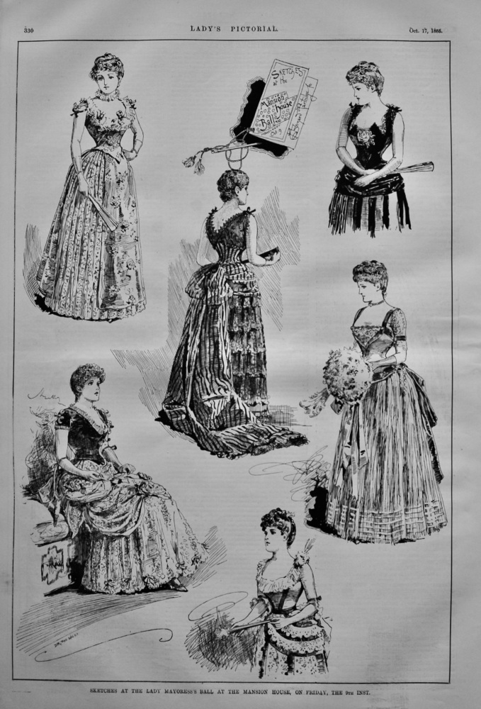 Sketches at the Lady Mayoress's Ball at the Mansion House, on Friday, the 9th Inst. October 1885.