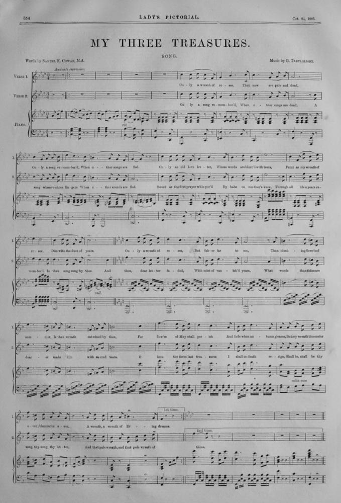 My Three Treasures.  (Sheet Music)  1885.