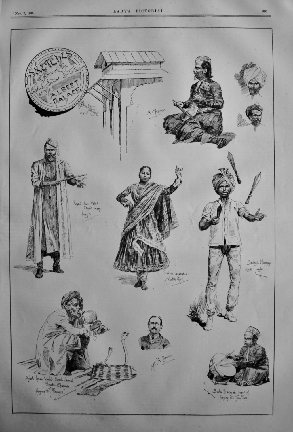 Sketches of some of the Native Indian Entertainers at the Albert Palace.  1