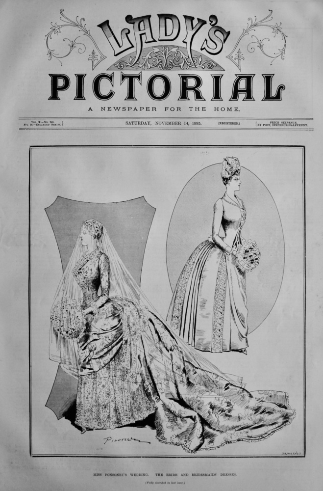 Miss Ponsonby's Wedding.  The Bride and Bridesmaids' Dresses.  1885.