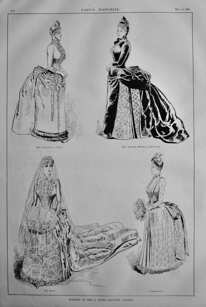 Sketches at Miss A. Sophia Raggett's Wedding.  1885.