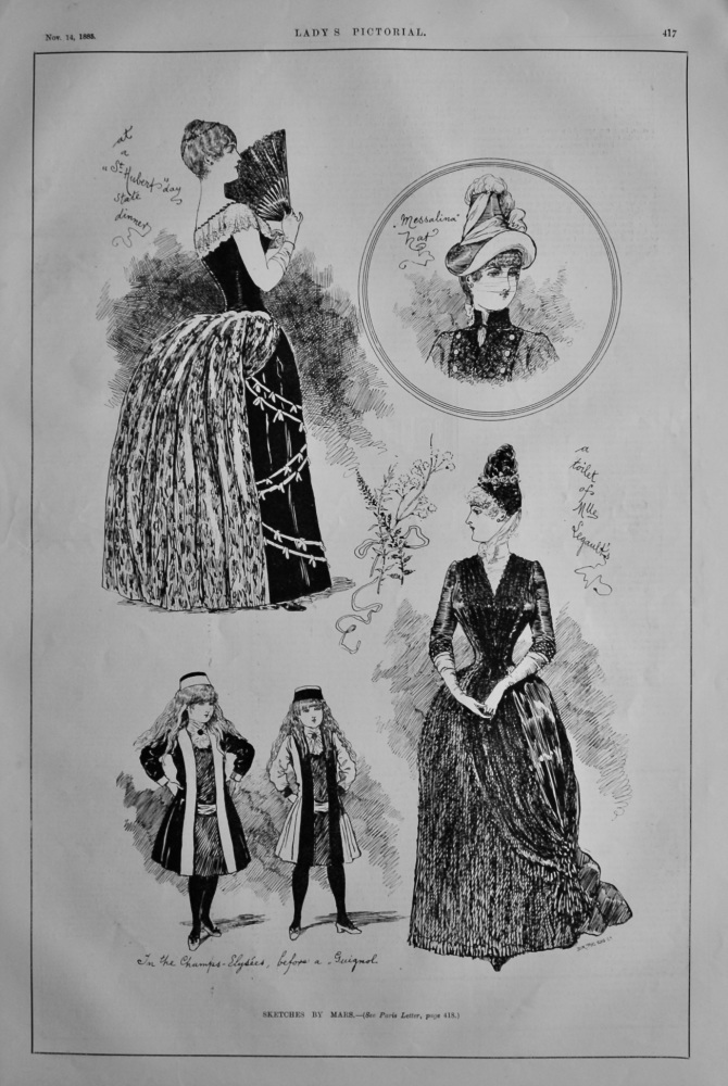 Fashion Sketches by Mars.  1885.