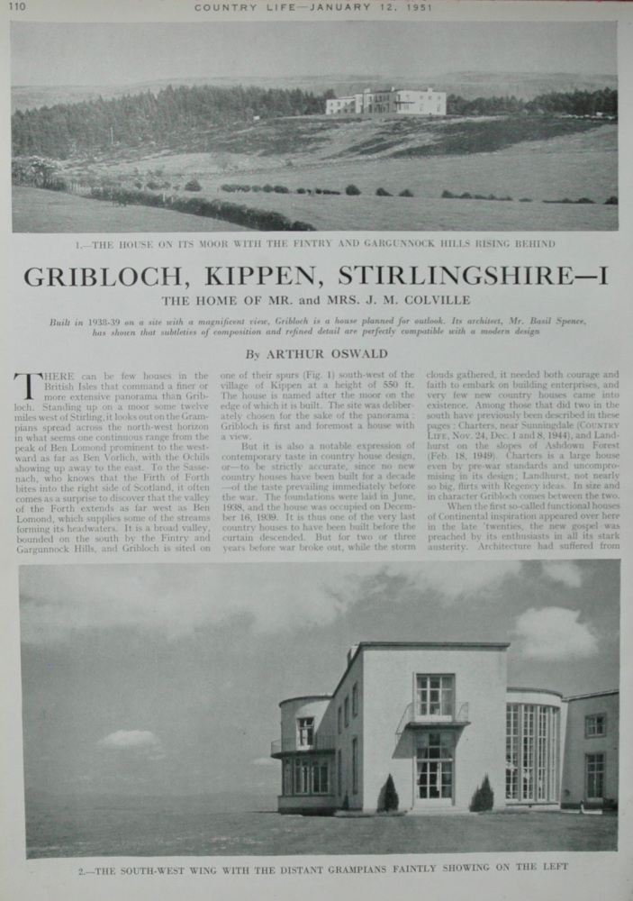 Griblock, Kippen, Stirlingshire. - Part 1.  The Home of Mr. and Mrs. J. M. Colville.  1951.
