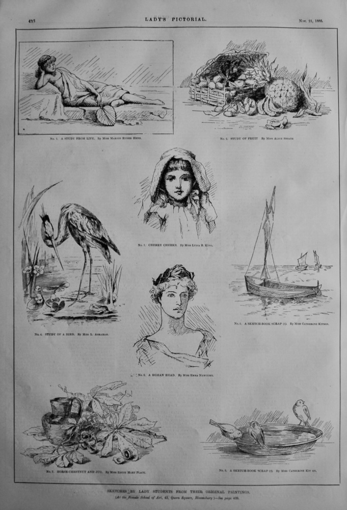Sketches by Lady Students from their Original Paintings.  1885.