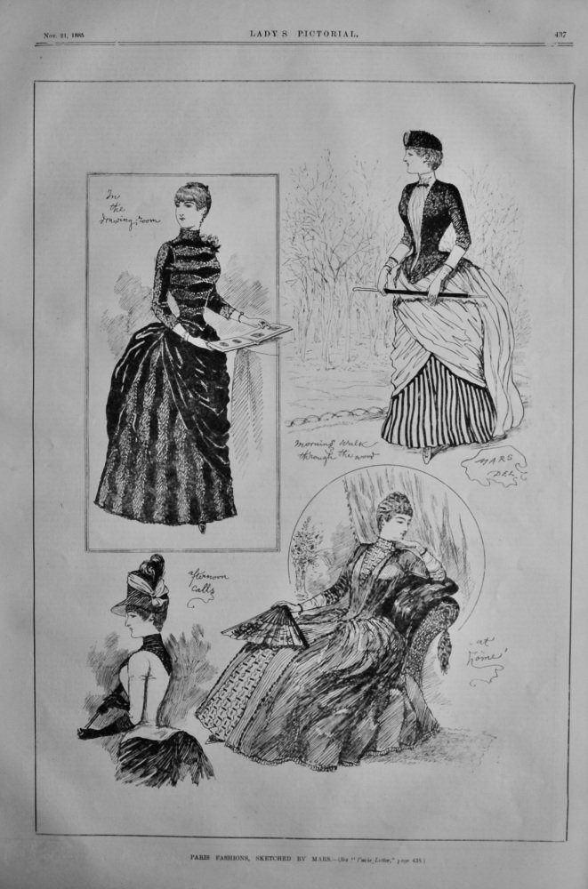 Paris Fashions, Sketched by Mars.  1885.