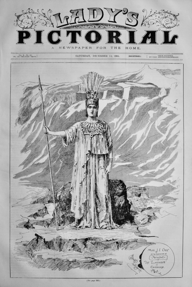 """Miss J. E. Case in the Character of """"Athene"""" in the """"Eumenides""""  at Cambridge.  1885."""