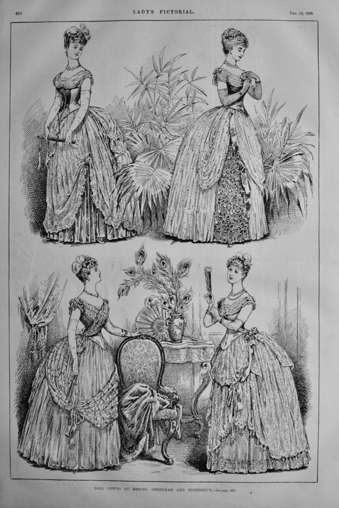 Ball Gowns at Messrs. Debenham and Freebody's.  1885.