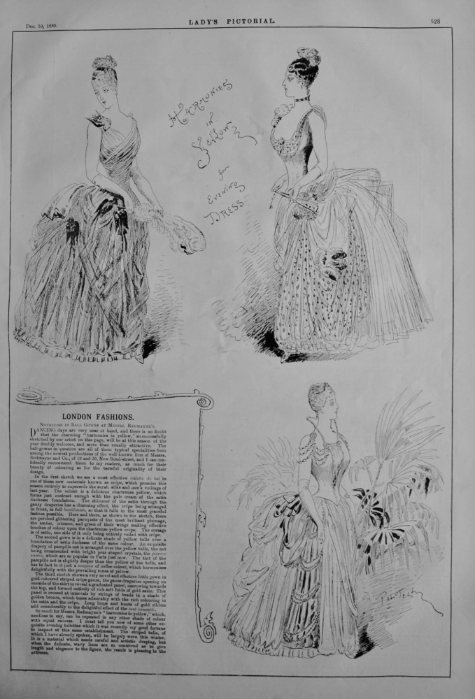 London Fashions. : Novelties in Ball Gowns at Messrs. Redmayne's.  1885.