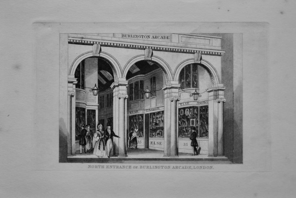 North Entrance of Burlington Arcade, London.  1845.